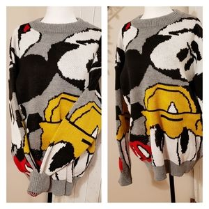 DISNEY MICKEY MOUSE OVERSIZED KNIT CREW SWEATER …